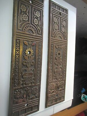 Pair Antique Aesthetic Arts & Craft Door Finger Push Plates Registration Kite