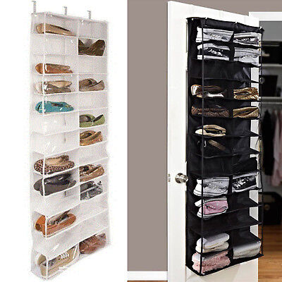 26-Pocket Over Door Hanging Shoe Rack Shelf Organizer Holder Storage Wall Closet