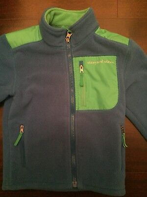 Vineyard Vines Boys Fleece Shep Full Zip Jacket Sz 4T Barth's Blue Green Accents