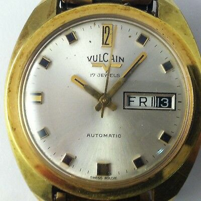Vintage Vulcain Automatic 17 Jewels Date Dial Swiss Made Watch
