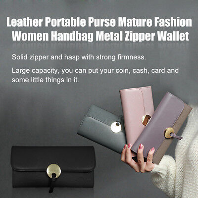 Lady Genuine Leather Wallet Trifold Credit Card Holders Zipper Pocket Purse OK