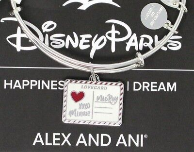 Disney Alex and Ani Mickey & Minnie Love Letter Charm Bracelet Silver Card