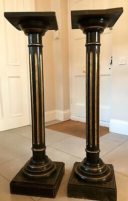 A Pair of Wood Columns/ Plant Stands Early 19th C
