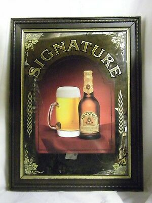 Vintage Signature STROH Beer Mirror Sign Advertising Wall Sign Wood Frame 21X16