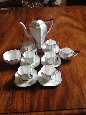"Shelley art deco Coffee Set ""My Garden ""Queen Anne shape."