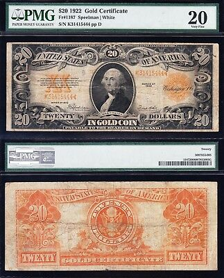 NICE Mid-Grade VF 1922 $20 GOLD CERTIFICATE! PMG 20! FREE SHIPPING! K31415444