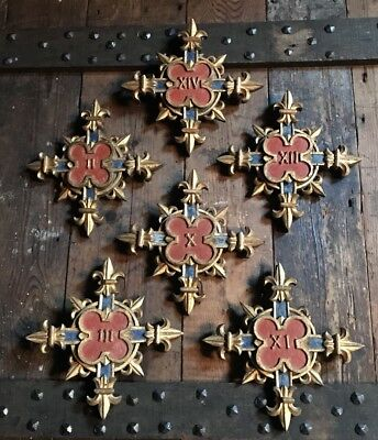 6 Antique 19th Century Gothic Church Markers Carved Wood