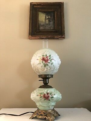Large Antique GONE WITH THE WIND Oil Hurricane Lamp Electric Hand Painted Floral