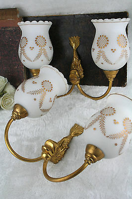 PAIR french vintage Brass FISH glass opaline shades Wall lights Sconces 60's