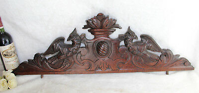 XXL French antique wood carved black forest griffin Dragon gothic pediment