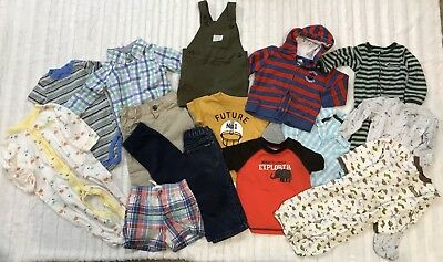 Huge Lot Of Baby Boy Clothes Sz 9 - 12 Months One Pieces Pants Sleepers 15 Items