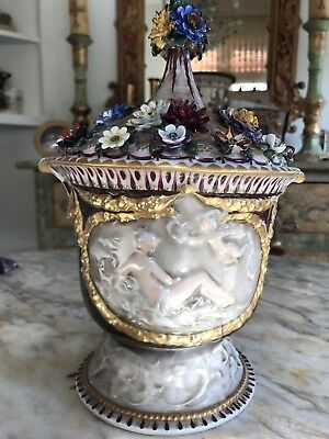 19th Century German Porcelain Covered Cachepot