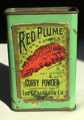 RED PLUME Brand. Curry Powder Tin.  C.Callahan Co.  Lafayette, IND