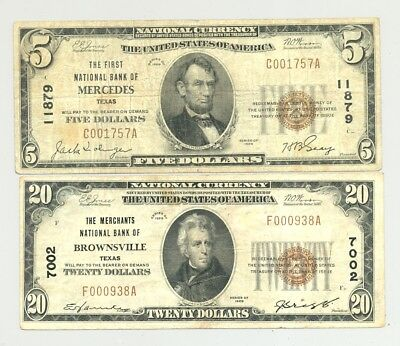 $20 Series 1929 Brownsville and $5 1929 Mercedes, TX National Banknotes