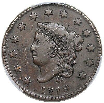 1819 Coronet Head Large Cent, Small Date, N-6, PCGS VF35
