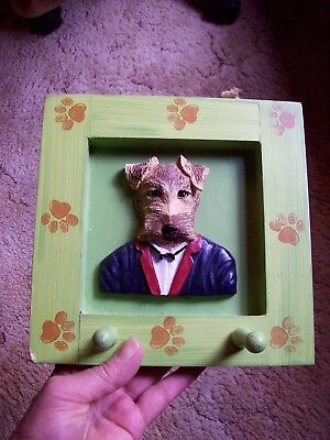 Whimsical Painted Terrier Dog Wood Peg Holder Pet Hooks Picture Frame Airedale ?