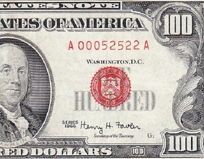 NICE Bold Mid-Grade VF 1966 $100 RED SEAL United States Note! FREE SHIP! 52522A