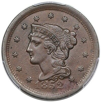 1852 Braided Hair Large Cent, N-12, LDS, PCGS AU55