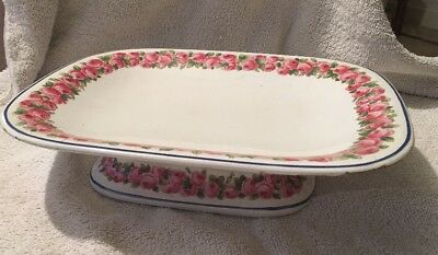 Vintage Early Minton Bb New Stone Oval Cake Plate Comport - Pink Roses
