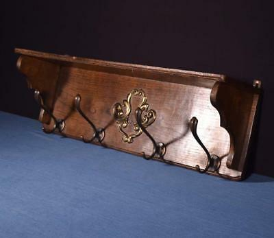 "*28"" Vintage French Oak Coat Rack Hall Tree Wood Shelf w/Brass Hooks"
