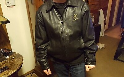 LEARJET Jacket W/Quilted Liner black leather large