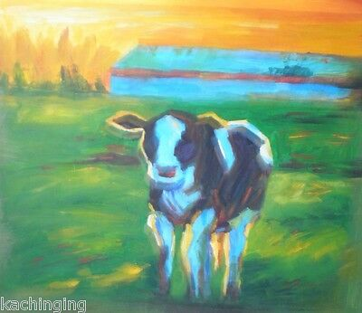 Large Hand Painted Oil Painting  On Canvas Modern Abstract Cow In Field Wall Art