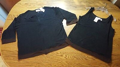 NWT- Private Editions by CHICO'S Sz 3 Black, Tank & Jacket Set Silky Travelers