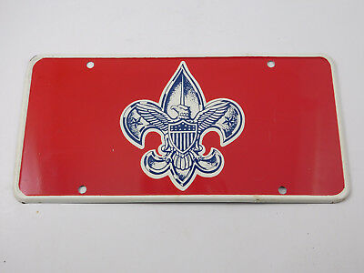 Vintage BSA Boy Scouts Of America Emblem Licence Plate Red Very Heavy Metal RARE