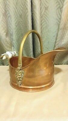 Vintage Copper Pot with Lions Head and handle in brass,also a blue and white...