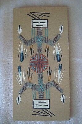 Native American Navajo Indian Yei Sand Art Painting Signed