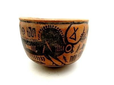 Indus Valley Terracotta Bowl W/ Bull/  - Rare Ancient Artifact Lovely - L573