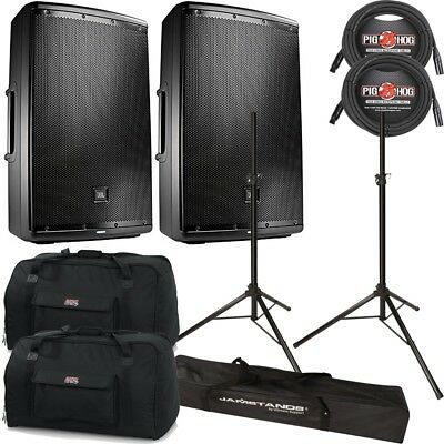 """JBL EON 615 2-Way Powered 15"""" Speakers Pair + Cables, Stands + Bags"""
