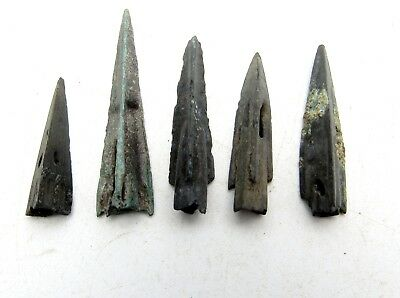 Lot Of 5 Ancient Bronze Scythian Arrow Heads - Historical Artifacts Lovely B459