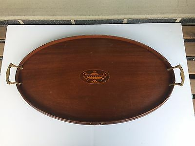 Antique Vintage Victorian Inlaid Mahogany Oval Butler Serving Tray 24""
