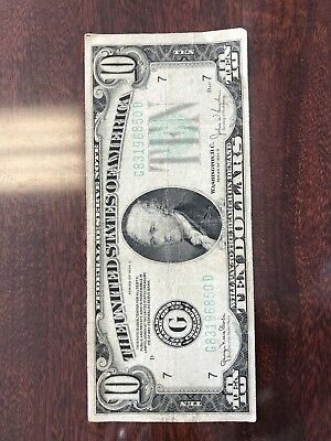 Series of 1934 D G (CHICAGO) $10 Dollar Bill Federal Reserve Note US Currency