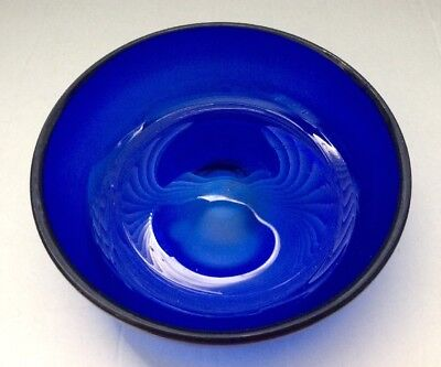 "Antique Vintage Cobalt Blue Hand Blown Heavyweight Dimple Base 6.5"" Dia (1~Each)"