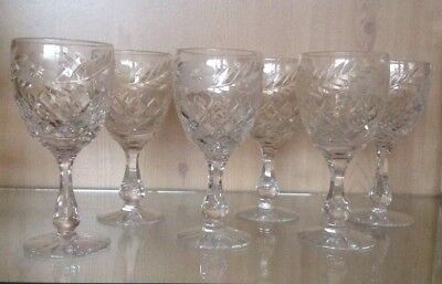 Set of Six Tutbury Lead Crystal Cut Glass Wine Glasses Etched with Flowers