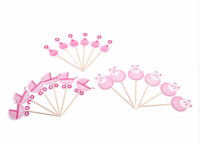 18x CAKE TOPPER CUPCAKE MUFFIN DEKORATION MÄDCHEN IT'S A GIRL ROSA BABYSHOWER
