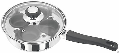 Judge Stainless Steel Glass Lid 4 Non Stick Cup Egg Poacher HP86