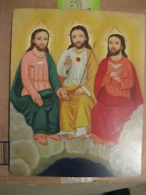 Contemporary Retablo On Tin With The Holy Familyexcellent Condition Sharp Colors
