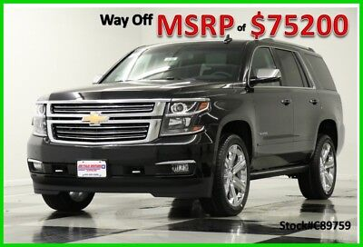 2018 Chevrolet Tahoe MSRP$75200 4WD Premier DVD GPS Sunroof Black 4X4 New Navigation Heated Cooled Leather 22 In Rims Head Up Captains 17 2017 18 5.3