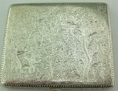 Antique Indian / Indo-Persian Solid Silver Cigarette Case / Card Case