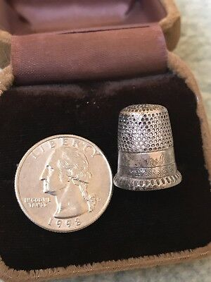 Antique Old Sterling Silver Thimble #7 - Uncleaned Condition