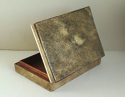 OLD ANTIQUE 1930's ART DECO SHAGREEN WOODEN JEWELRY TRINKET BOX SHARK/RAY SKIN