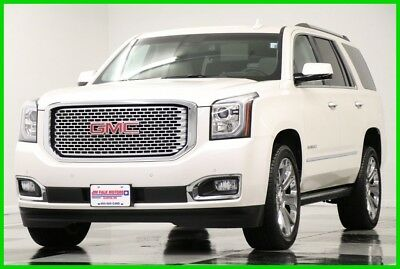 2015 GMC Yukon 4WD Denali Sunroof DVD Leather GPS White Diamond 4X4 Like New Heated Cooled Navigation Player 22 In Rims 16 17 2016 17 6.2 11K Miles