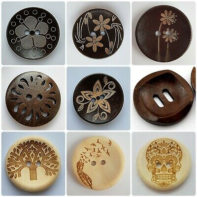 LUXURY LARGE COFFEE BROWN BUTTONS - 30mm ROUND, NATURAL, CARVED PATTERN, UK
