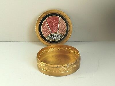 ANTIQUE 1930's ART DECO SHAGREEN TRINKET PIN BOX SHARK/RAY SKIN GOLD GILT METAL