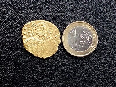 Authentic Byzantine coin of Jesus Christ, gold tone,with detector XP DEUS