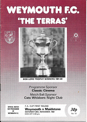 Weymouth V Maidstone Fa Cup 1982 1St Round