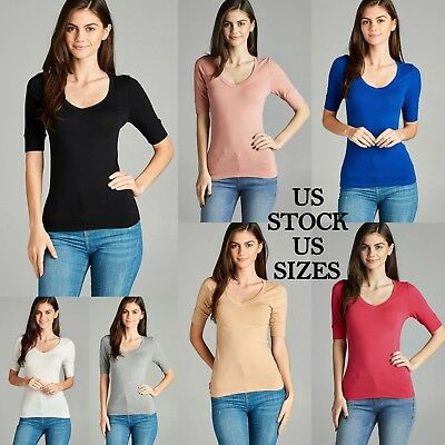 Women Solid Color Scoop Neck Basic Shirt Tee Cotton 3/4 Sleeve Active Basic